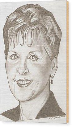 Joyce Meyer Drawing Wood Print by Robert Crandall