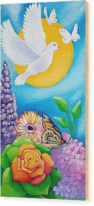 Joyful Garden #1 Right Panel Wood Print