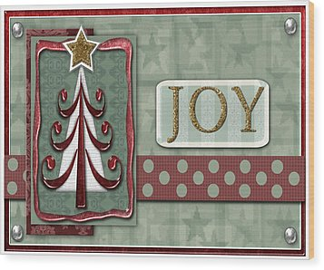 Joyful Tree Card Wood Print by Arline Wagner