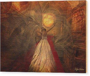Wood Print featuring the digital art Joyous Bride by Kylie Sabra