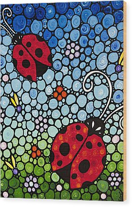 Joyous Ladies Ladybugs Wood Print by Sharon Cummings