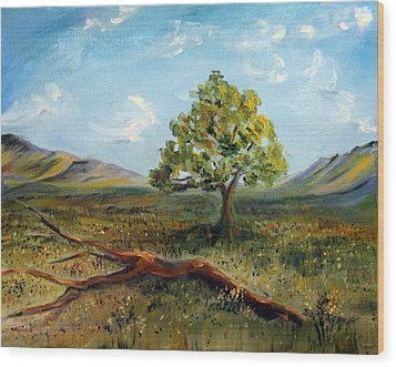 Wood Print featuring the painting Jubilant Fields by Meaghan Troup