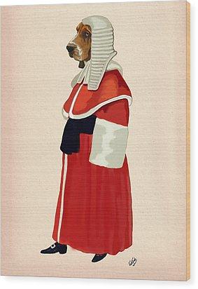Judge Dog Full Wood Print by Kelly McLaughlan