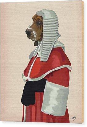 Judge Dog Portrait Wood Print by Kelly McLaughlan