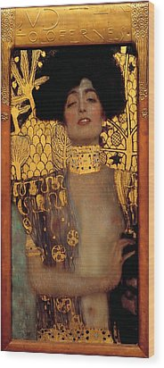 Judith And The Head Of Holofernes Wood Print by Gustav Klimt