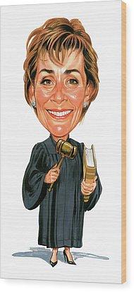Judith Sheindlin As Judge Judy Wood Print by Art