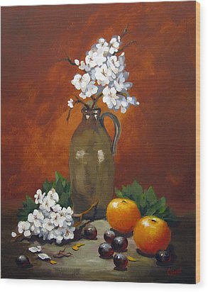 Wood Print featuring the painting Jug And Blossoms by Carol Hart