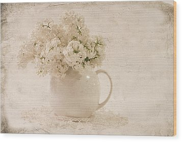 Jug Of White Lilacs Wood Print by Sandra Foster
