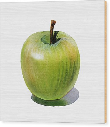 Juicy Green Apple Wood Print by Irina Sztukowski