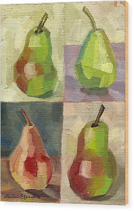 Juicy Pears Four Square Wood Print by Shalece Elynne