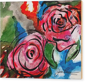 Juicy Red Roses Wood Print by Joan Reese