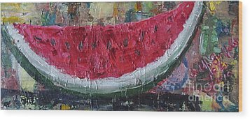 Juicy Watermelon Slice - Sold Wood Print by Judith Espinoza