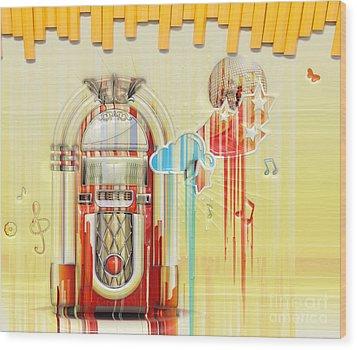 Juke Box Wood Print by Liane Wright