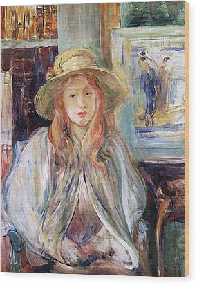 Julie Manet With A Straw Hat Wood Print by Berthe Morisot