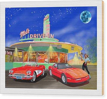 Julies Corvettes Wood Print