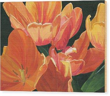 Julie's Tulips Wood Print by Lynne Reichhart