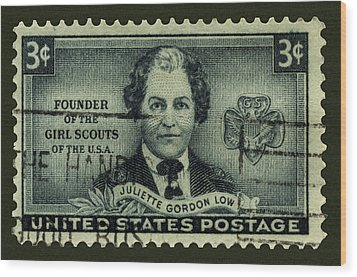 Girl Scouts Founder Juliette Gordon Low Postage Stamp Wood Print