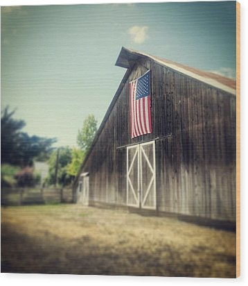 July Barn Wood Print by Melissa Broughton