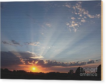July Sky Show Wood Print by Erica Hanel