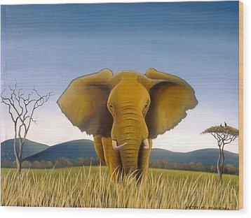 Jumbo Wood Print by Hilton Mwakima