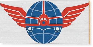 Jumbo Jet Plane Front Wings Globe Wood Print by Aloysius Patrimonio