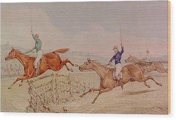 Jumping A Fence Wood Print by Henry Thomas Alken