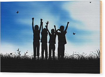 Jumping Kids Wood Print by Aged Pixel