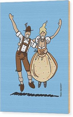 Jumping Oktoberfest Lovers Wood Print by Frank Ramspott