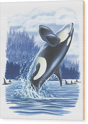 Jumping Orca Wood Print by JQ Licensing