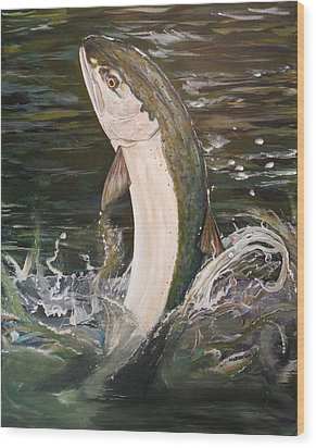 Jumping Steelhead Wood Print