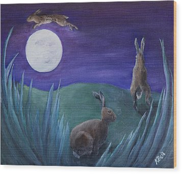 Jumping The Moon Wood Print
