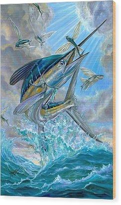 Jumping White Marlin And Flying Fish Wood Print