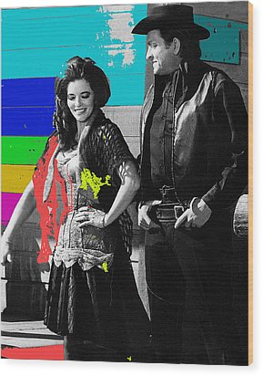 Wood Print featuring the photograph June Carter Cash Johnny Cash In Costume Old Tucson Az 1971-2008 by David Lee Guss