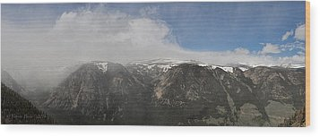 June Snow Squall Coming Down The Valley Wood Print