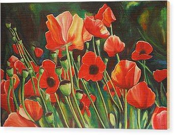 June Wearing Red Wood Print by Sheila Diemert