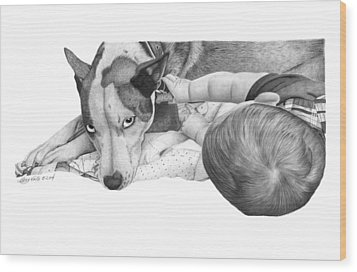 Wood Print featuring the drawing Juneau And James -031 by Abbey Noelle