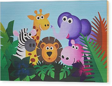 Jungle Wood Print by Bav Patel