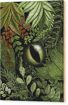 Jungle Eye Wood Print by Carol Jacobs