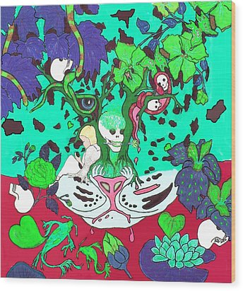 Wood Print featuring the digital art Jungle Fever 4 by Stephanie Grant