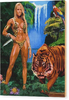 Jungle Girl Wood Print