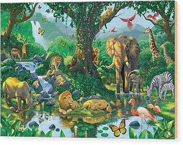 Jungle Harmony Wood Print by Chris Heitt