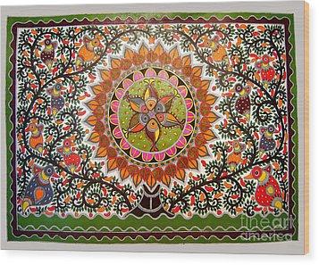 Jungle Life-madhubani Paintings Wood Print