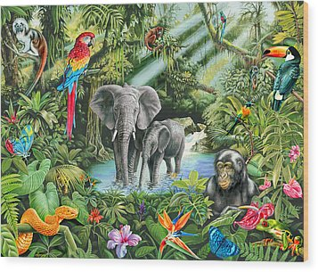 Jungle Wood Print by Mark Gregory