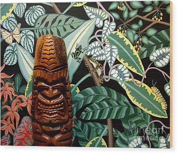 Jungle O Tiki Wood Print by Anthony Morris