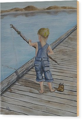 Juniors Amazing Fishing Pole Wood Print by Kelly Mills