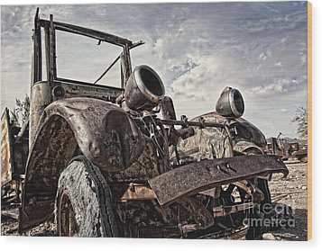Junk Yard Sentinel Stands  Wood Print