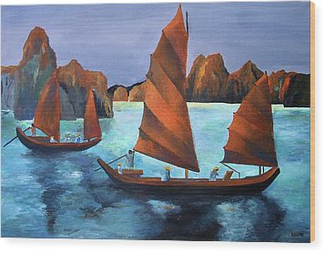 Wood Print featuring the painting Junks In The Descending Dragon Bay by Tracey Harrington-Simpson
