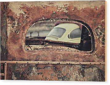 Junkyard Window Wood Print