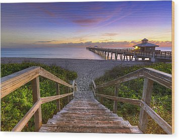 Juno Beach   Wood Print by Debra and Dave Vanderlaan