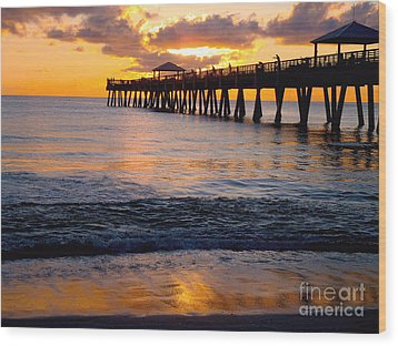 Juno Beach Pier Wood Print by Carey Chen